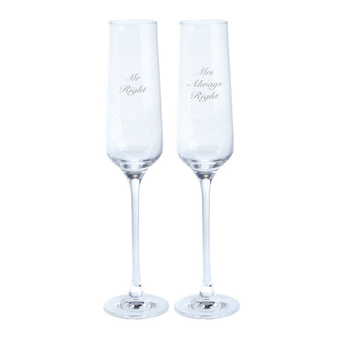 Dartington Crystal Just For You Mr and Mrs Right Champagne Flute 0.19L (Pair)