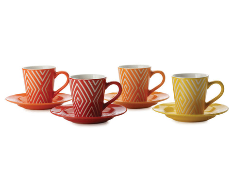 Maxwell and Williams Graphique Maze Coffee Cup and Saucer 0.80L (Set of 4)