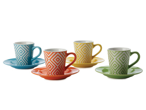 Maxwell and Williams Graphique Diamonds Coffee Cup and Saucer 0.80L (Set of 4)