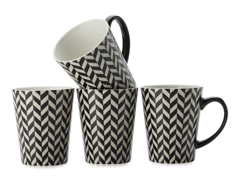 Maxwell and Williams Graphique Chevron Mug 0.44L (Set of 4)