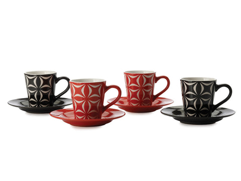 Maxwell and Williams Graphique Star Coffee Cup and Saucers 0.80L (Set of 4)