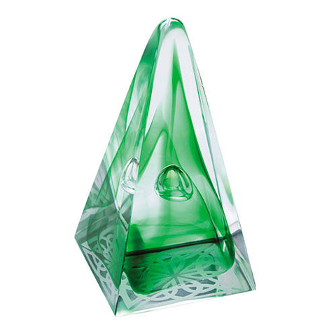 Caithness Glass Abstract Emerald Pyramids Celtic Knot Paperweight