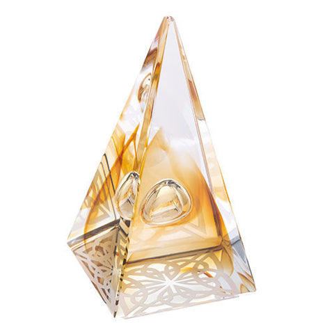Caithness Glass Abstract Gold Pyramids Celtic Knot Paperweight