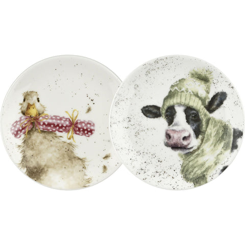 Royal Worcester Duck And Donkey Coupe Plate 16.5cm (Set Of 2)