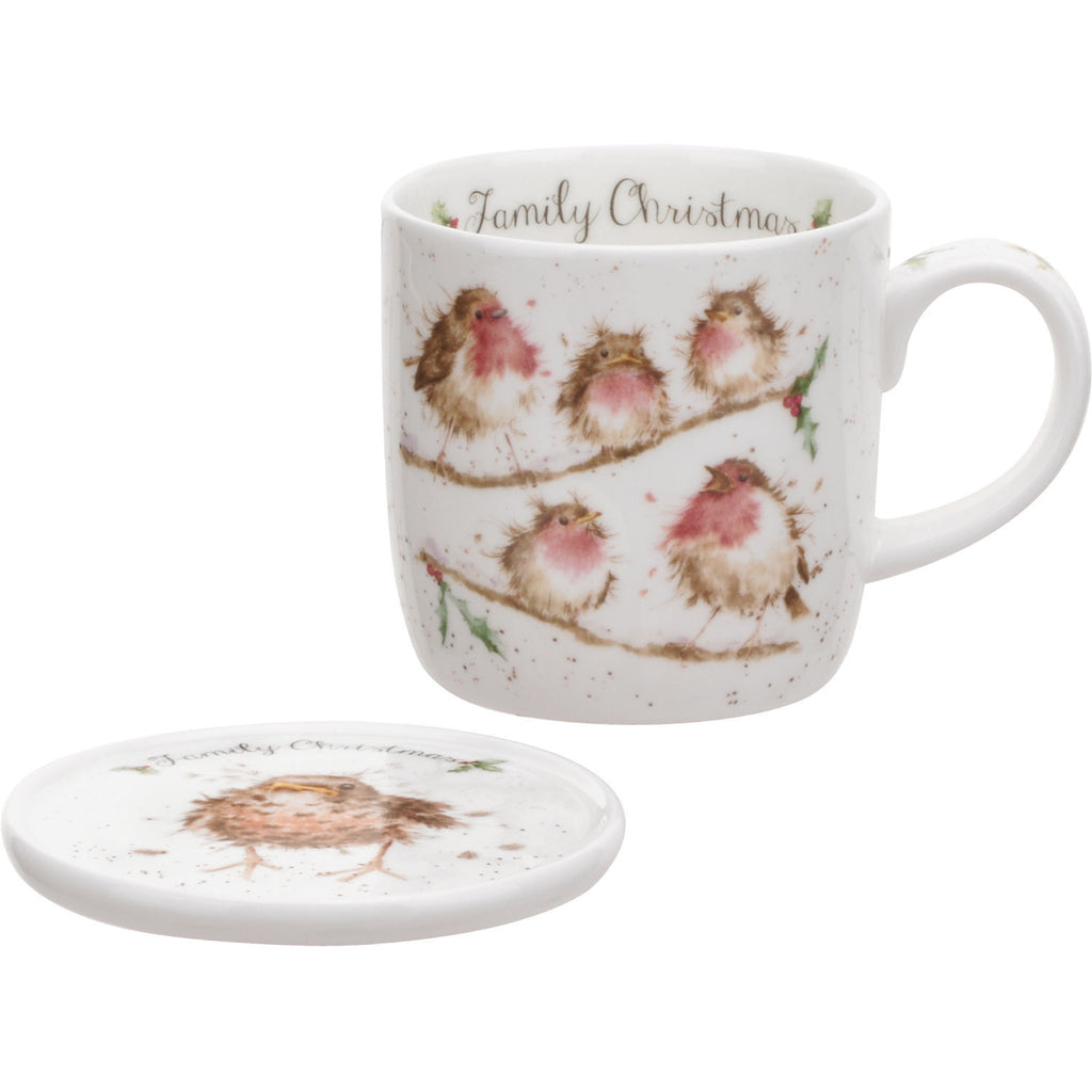 Royal Worcester Wrendale Family Christmas Mug With Coaster 0.31L