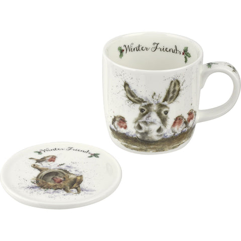 Royal Worcester Donkey And Robin Winter Friends Mug 0.31L And Coaster