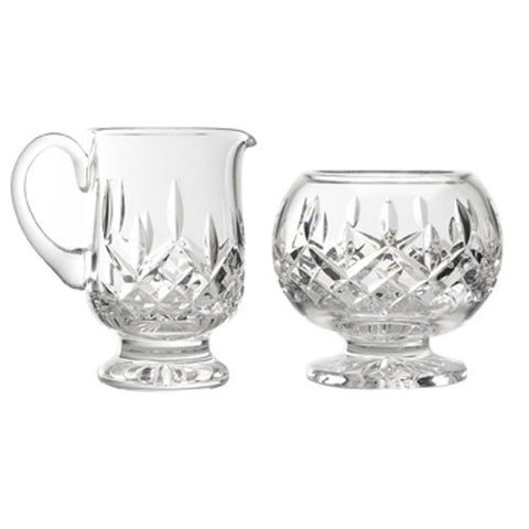 Waterford Crystal Lismore Footed Sugar Bowl and Creamer