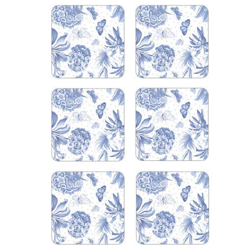 Portmeirion Botanic Blue Set of 6 Coasters 10.5cm by 10.5cm
