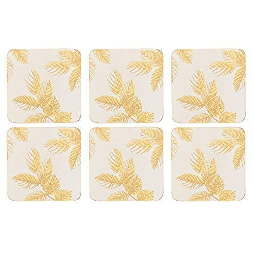 Portmeirion Etched Leaves Light Grey Coasters 10.5 By 10.5cm (Set Of 6)