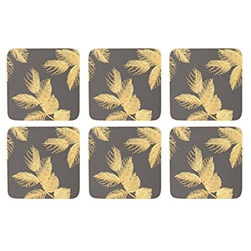 Portmeirion Etched Leaves Dark Grey Coasters 10.5 By 10.5cm (Set Of 6)