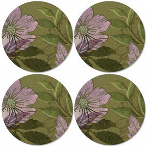 Pimpernel Autumn Green Round Coasters 10.5cm By 10.5cm (Set Of 4)
