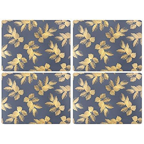 Portmeirion Etched Leaves Navy Placemats 30.5 By 23cm (Set Of 4)