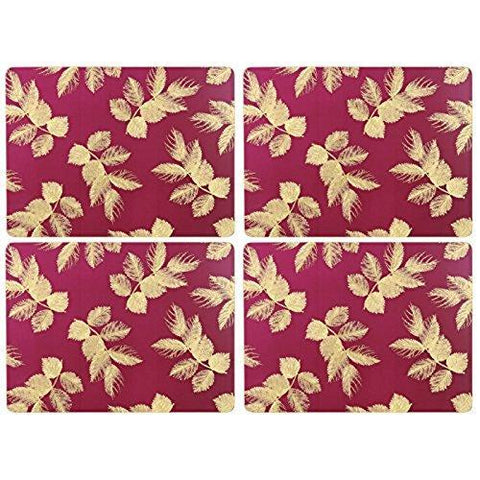 Portmeirion Etched Leaves Pink Placemats 30.5 By 23cm (Set Of 4)