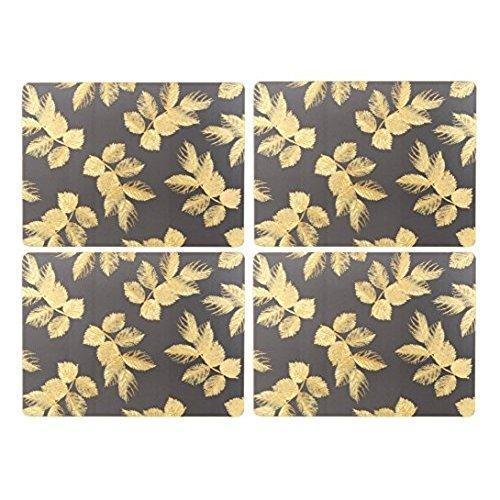 Portmeirion Etched Leaves Dark Grey Placemats 30.5 By 23cm (Set Of 4)