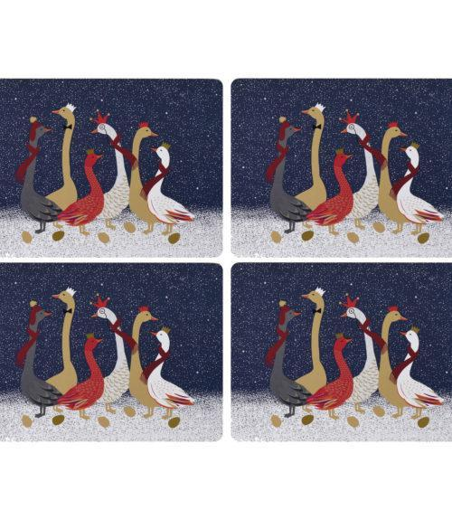 Portmeirion Sara Miller Christmas Geese Placemats 30.5 By 23cm (Set Of 4)