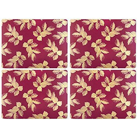 Portmeirion Etched Leaves Pink Placemats 40.1 By 29cm (Set Of 4)