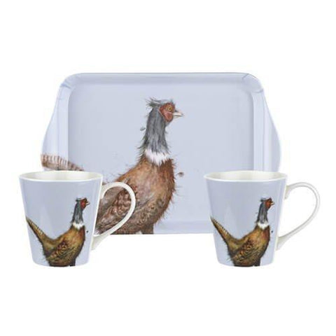 Royal Worcester Wrendale Coloured - (Pheasant 0.18L Mug, 21 By 14cm Tray)