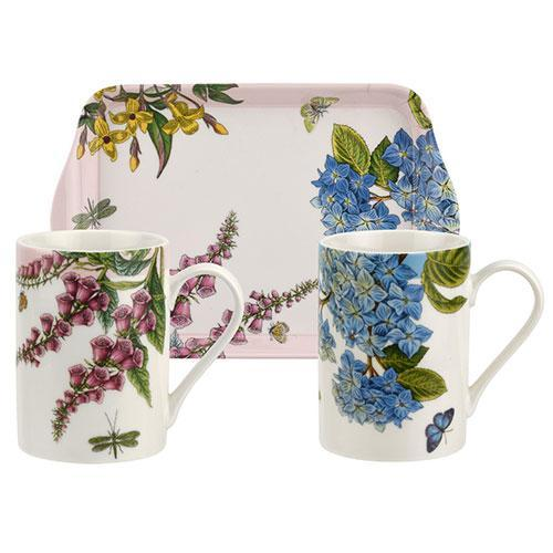 Portmeirion Botanic Garden Terrace Mugs 0.30L And Tray Set