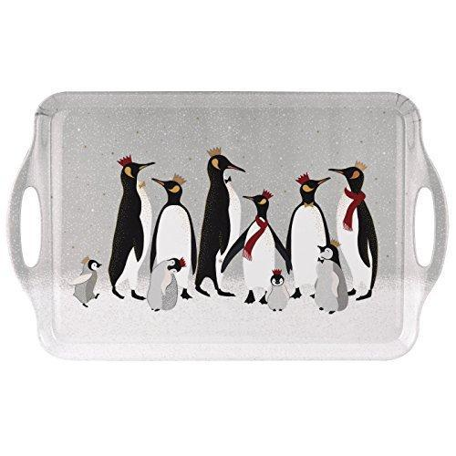 Portmeirion Sara Miller Christmas Penguin Large Handled Tray 48 By 29.5cm