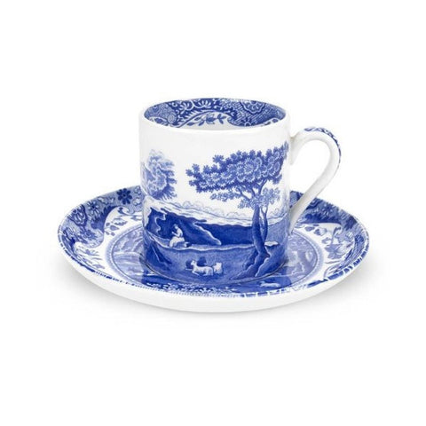 Spode Blue Italian Coffee Cup and Saucer 0.09L