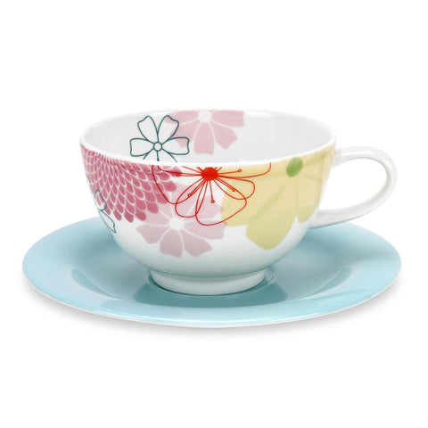 Portmeirion Crazy Daisy Breakfast Cup and Saucer 0.30L