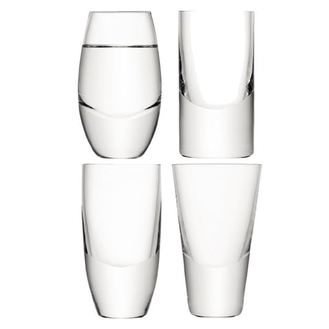 LSA Lulu Clear Set of 4 Shot Glasses 45ml