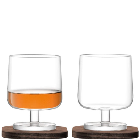 LSA City Cognac Glass on Walnut Coaster 250ml (Pair)
