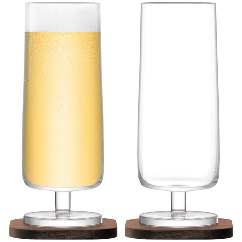 LSA City Beer Glass on Walnut Coaster 450ml (Pair)