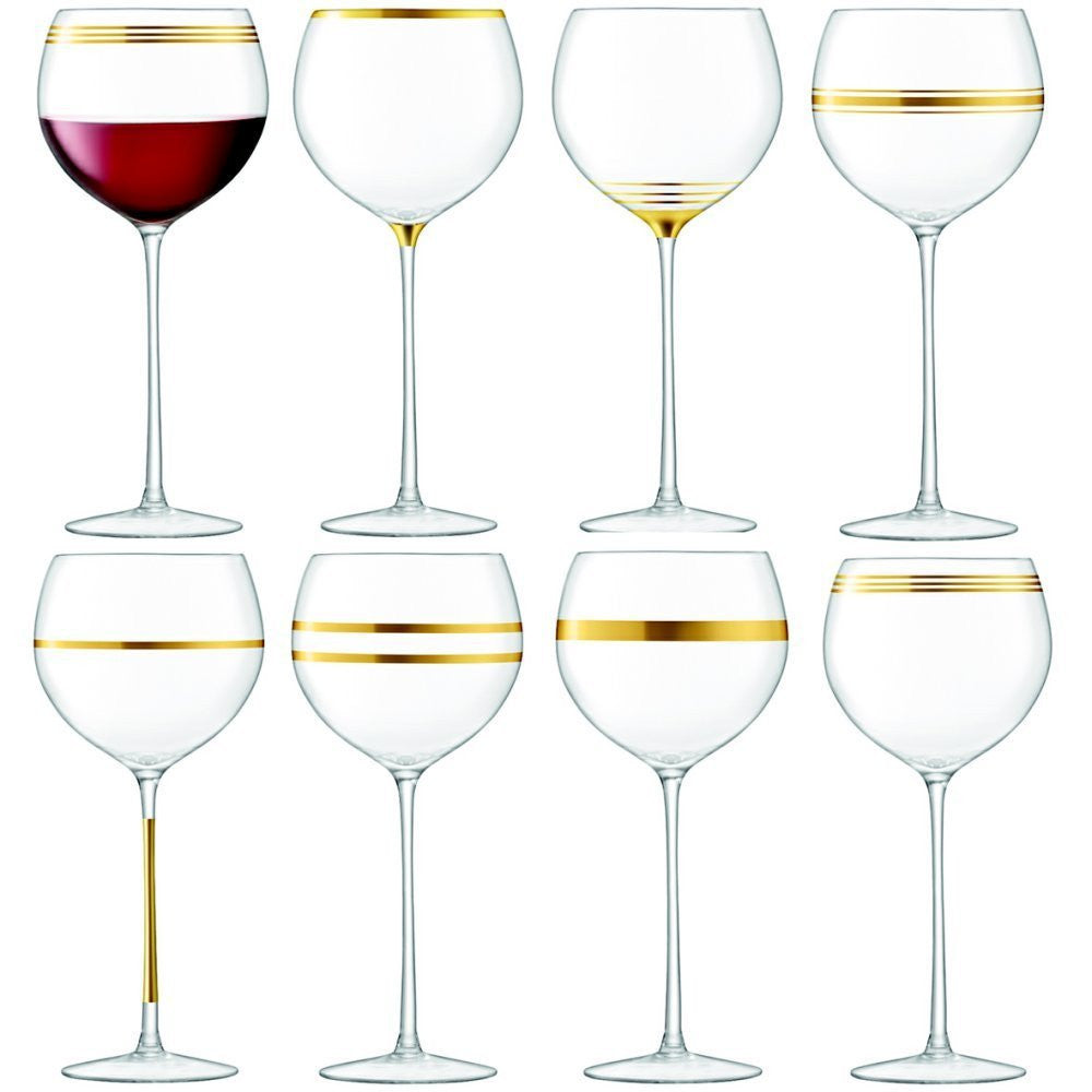 LSA Deco Gold Wine Goblet 0.53L (Set of 8)