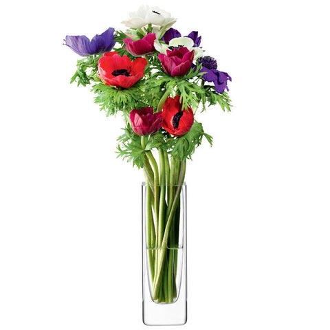 LSA Flower  Clear Rectangular Stem Vase 19cm