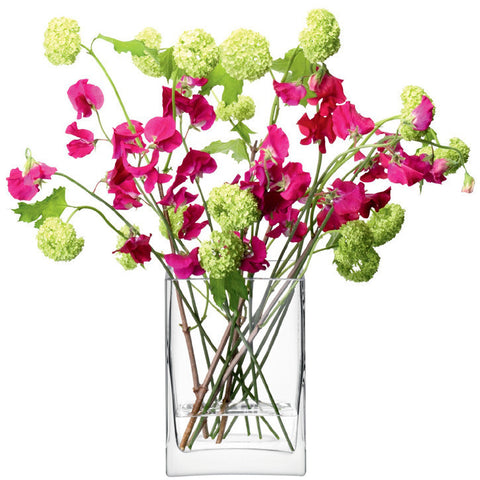 LSA Flower  Clear Rectangular Bunch Vase 22cm