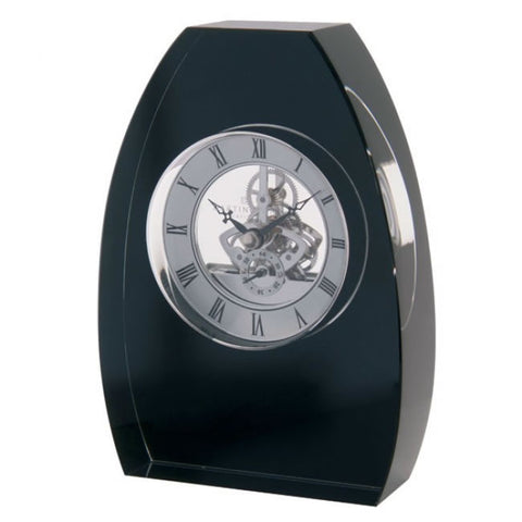 Dartington Crystal Black Arch Clock 17cm