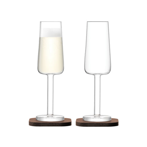 LSA City Champagne Flute on Walnut Coaster 200ml (Pair)