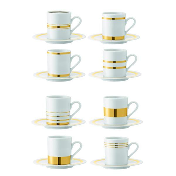 LSA Deco Gold Espresso Cup and Saucer 0.09L (Set of 8)