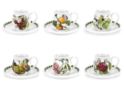 Portmeirion Pomona Cofffee Cup and Saucer 0.10L (Set of 6)