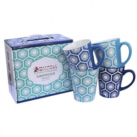 Maxwell and Williams Graphique Hexagon Mug 0.44L (Set of 4)