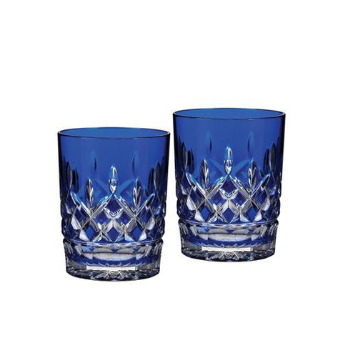 Waterford Crystal Classic Lismore Cobalt Double Old Fashioned Pair 10cm