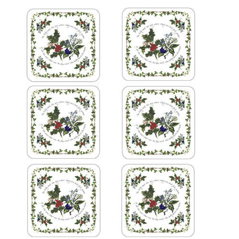 Portmeirion Holly and Ivy Coasters 10.5cm by 10.5cm (Set of 6)
