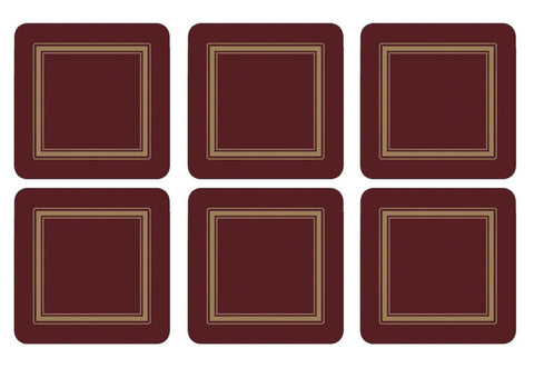 Pimpernel Classic Burgundy Coasters 10.5cm By 10.5cm (Set Of 6)