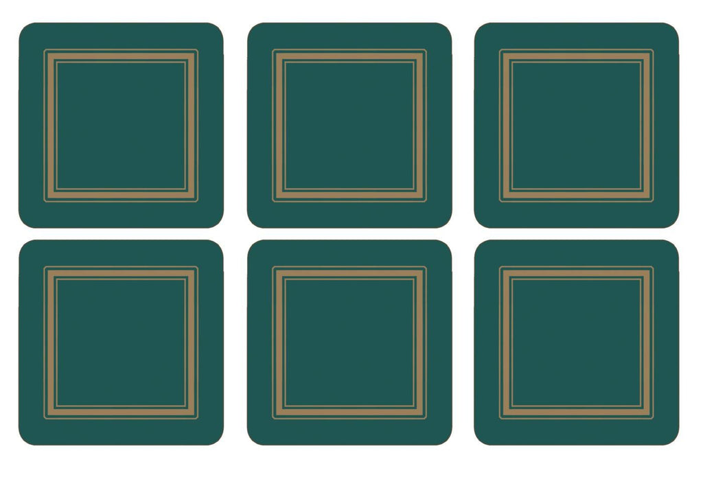 Pimpernel Classic Emerald Coasters 10.5cm By 10.5cm (Set Of 6)