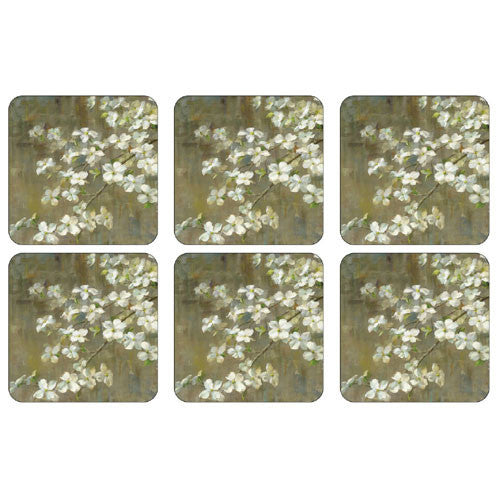 Pimpernel Dogwood In Spring Coasters 10.5cm By 10.5cm (Set Of 6)