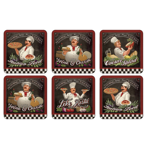 Pimpernel Chefs Special Coasters 10.5cm By 10.5cm (Set Of 6)