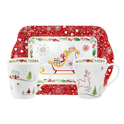Portmeirion Christmas Wish Christmas Wish Mug and Handled Tray Set