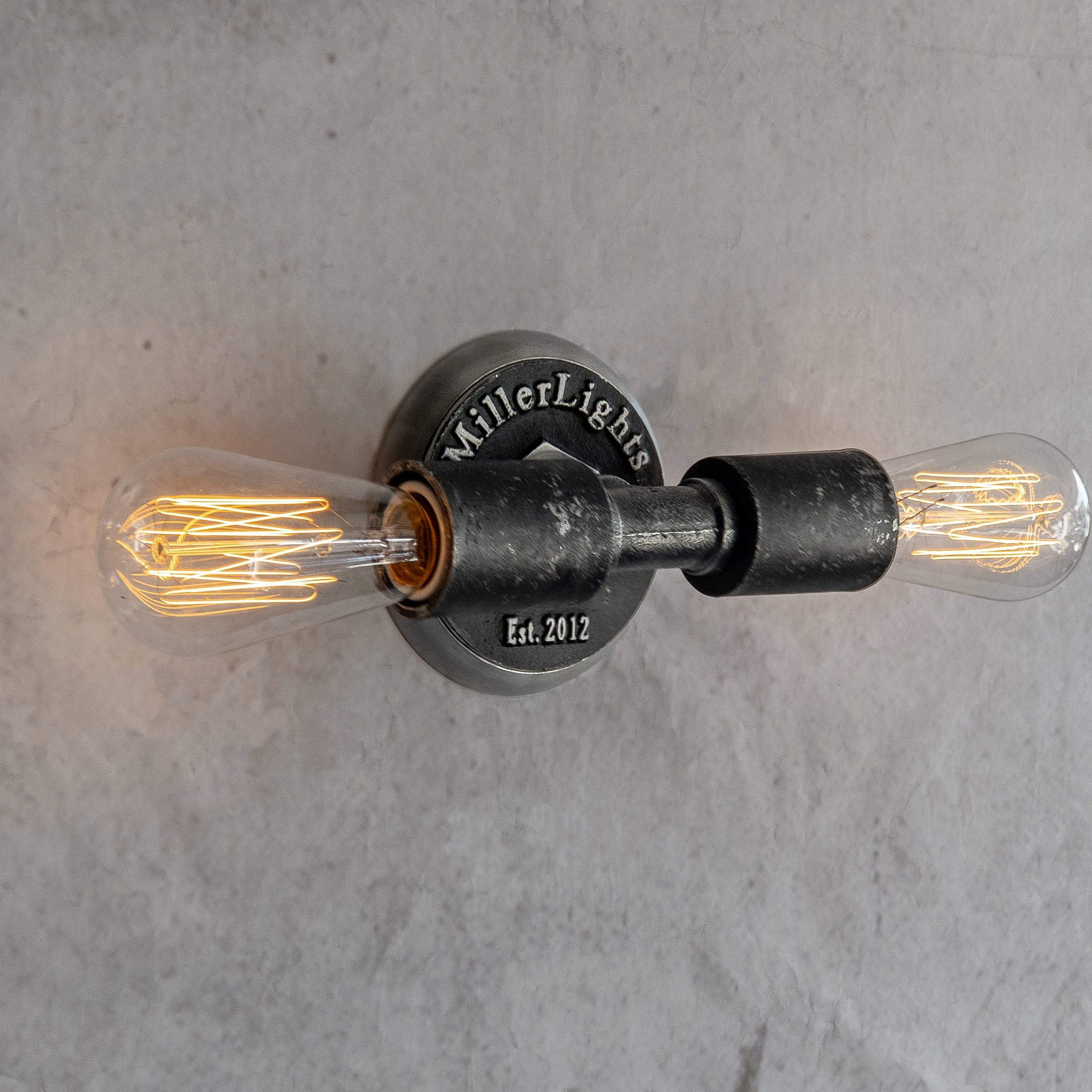 Minimalist Industrial Exposed Bulb, 2 light wall sconce- Grunge Black