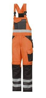 Snickers 0113 High-Vis Bib & Brace Trousers, Class 2