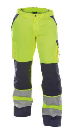 DASSY® BUFFALO HIGH VISIBILITY WORK TROUSERS WITH KNEE POCKETS (Yellow/Navy)