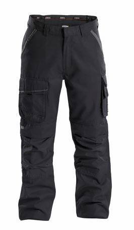 Dassy® Connor Canvas Work Trousers with Knee Pockets (Black/Anthracite Grey)
