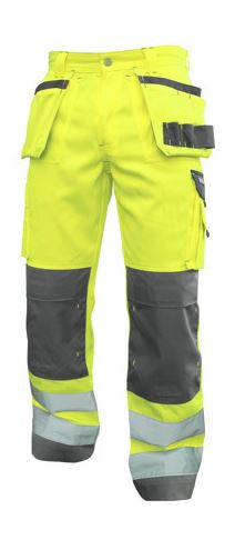 DASSY® GLASGOW HIGH VISIBILITY WORK TROUSERS WITH MULTI-POCKETS AND KNEE POCKETS (Yellow/Grey)