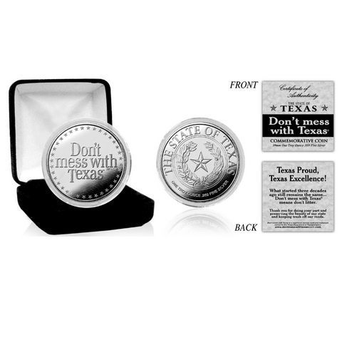 "Silver Plated ""Don't mess with Texas®"" Coin"