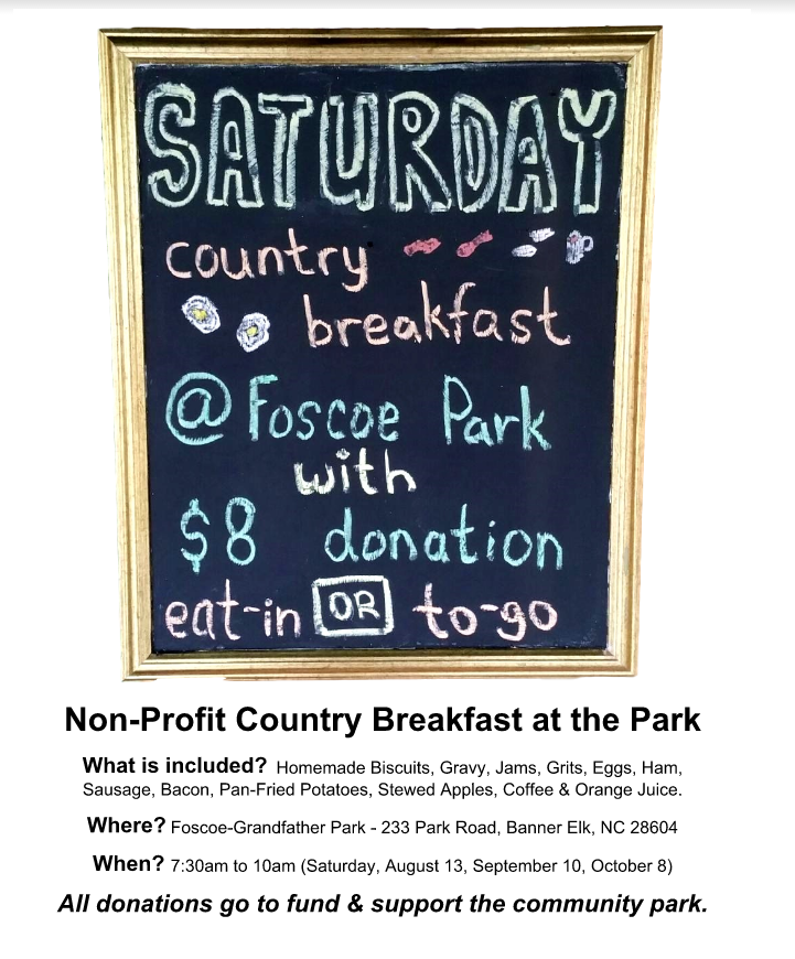 Country Breakfast Saturday at the Park!
